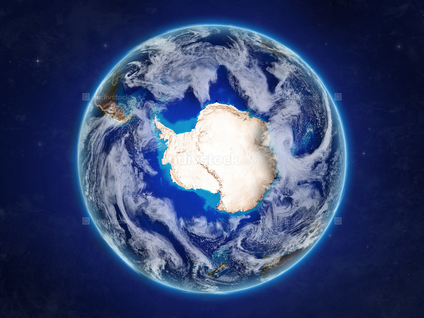 Antarctica on Earth from space