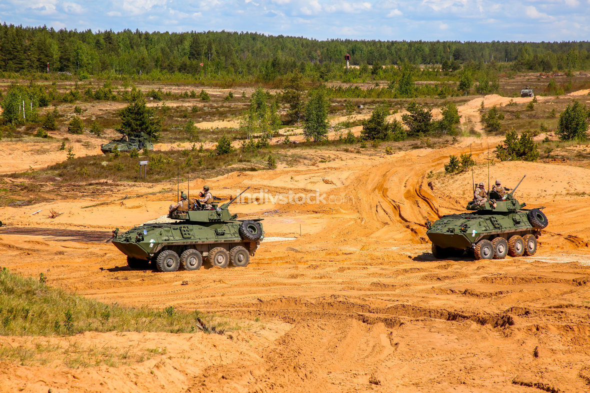 Armored vehicles in training Saber Strike in Latvia.