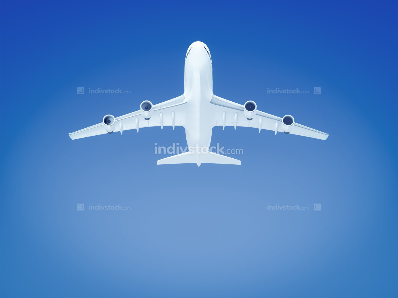 big airplane in the blue sky background