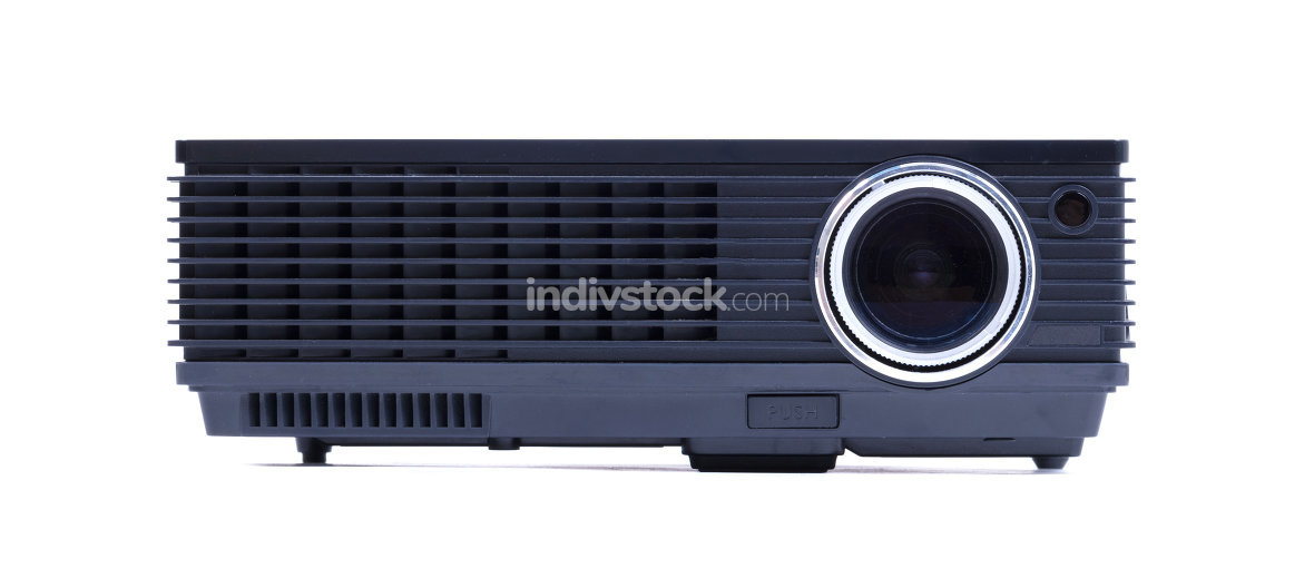 Black home cinema projector, isolated on white