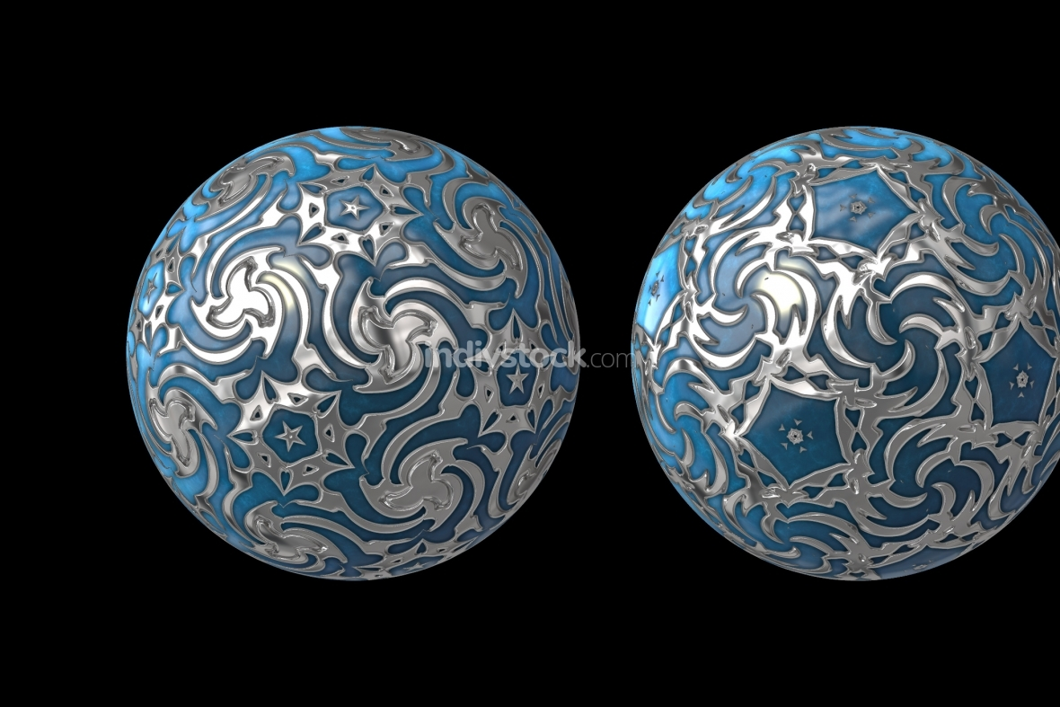 blue silver decorated balls