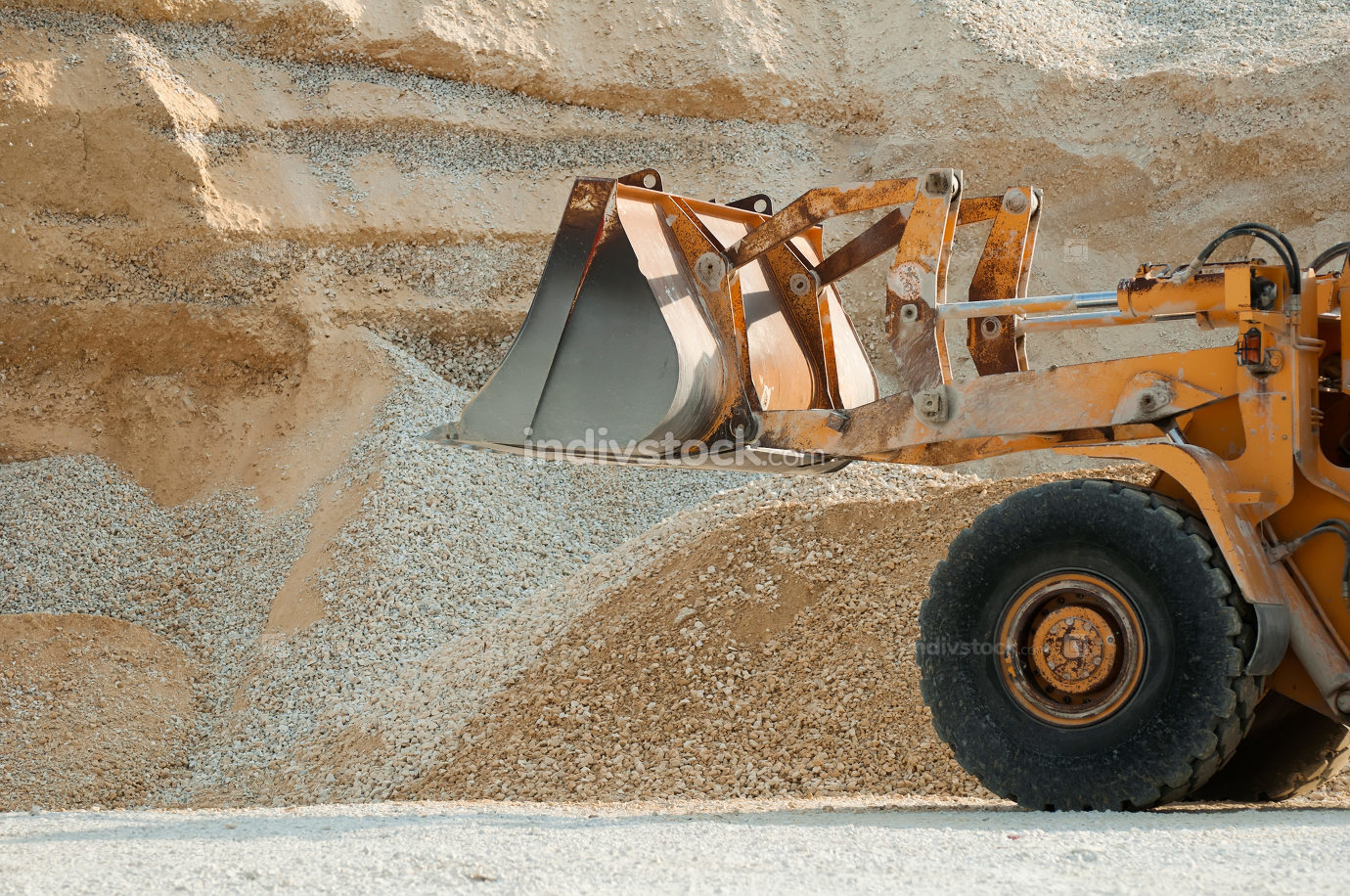 Bulldozer in quarry