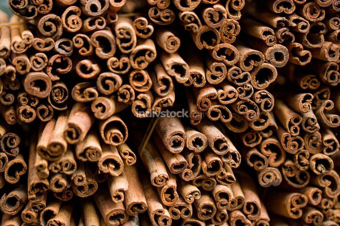 Bunches of cinnamon sticks in a herbal shop