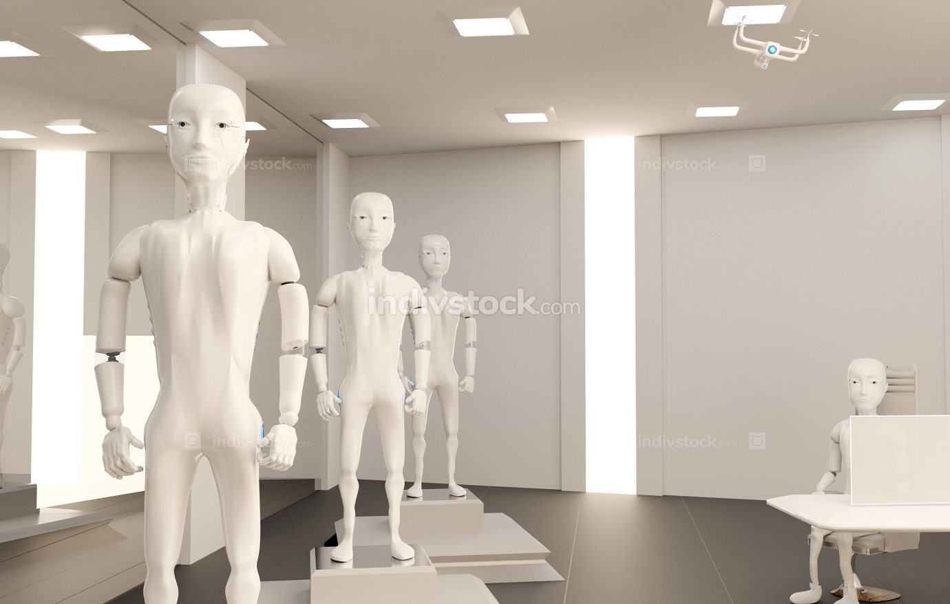 buy a robot in the robot shop 3d-illustration