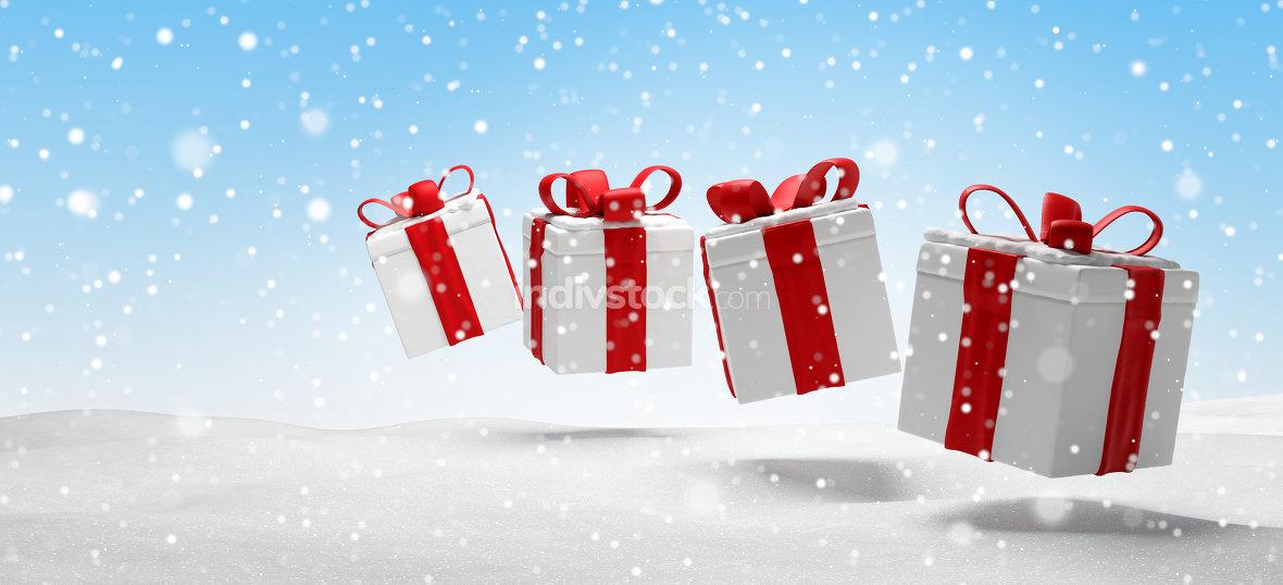christmas presents snow landscape with snowflakes 3d-illustratio