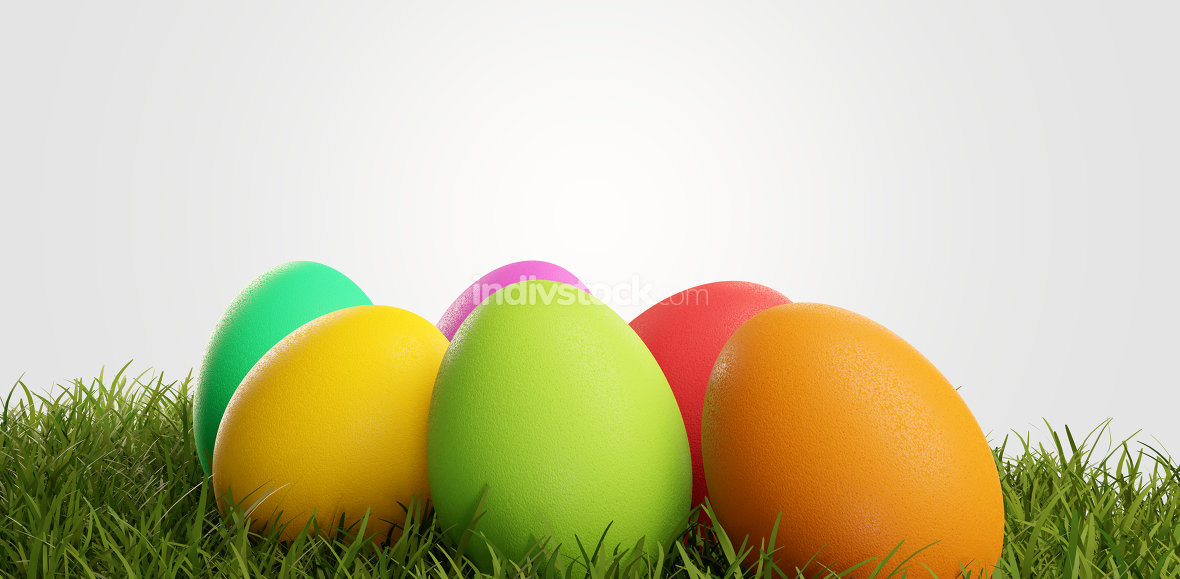 Colorful Easter eggs for Easter in the grass of a meadow 3d-illu