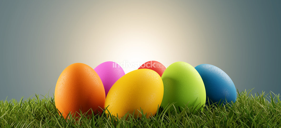 colorful Easter eggs green grass 3d-illustration