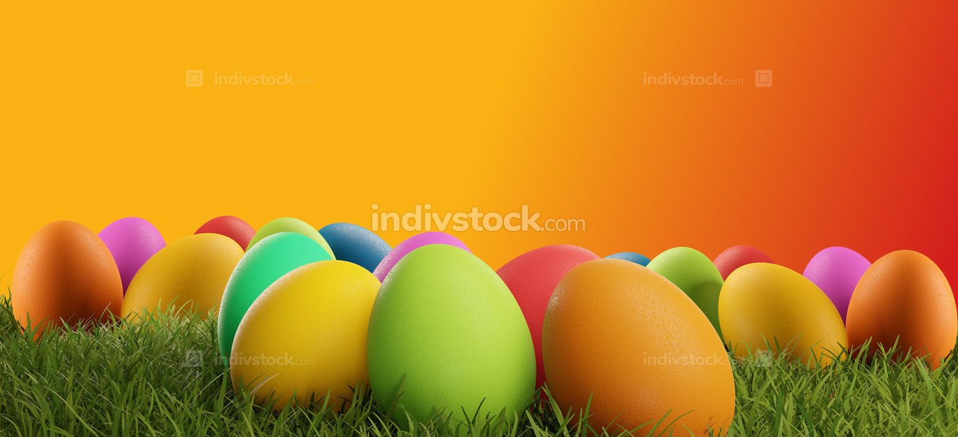 colorful Easter eggs green grass creative 3d-illustration