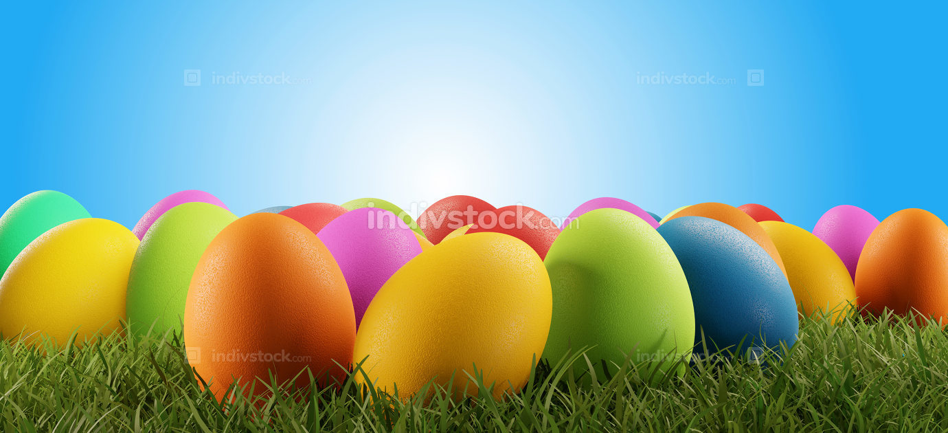 colorful Easter eggs green grass light blue 3d-illustration