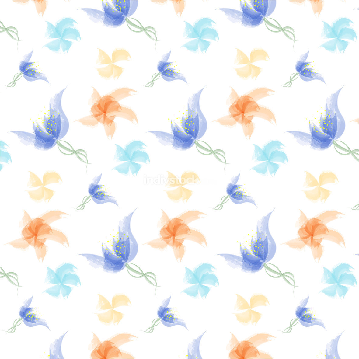 Colorful Watercolor flowers pattern - Illustration.
