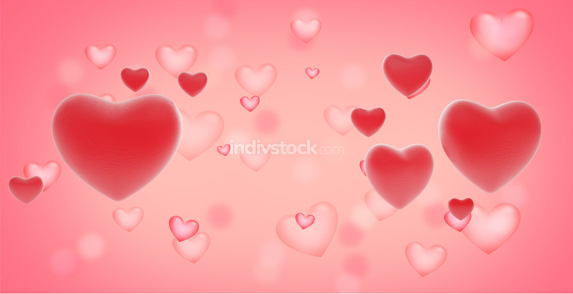creative background with hearts 3d-illustration