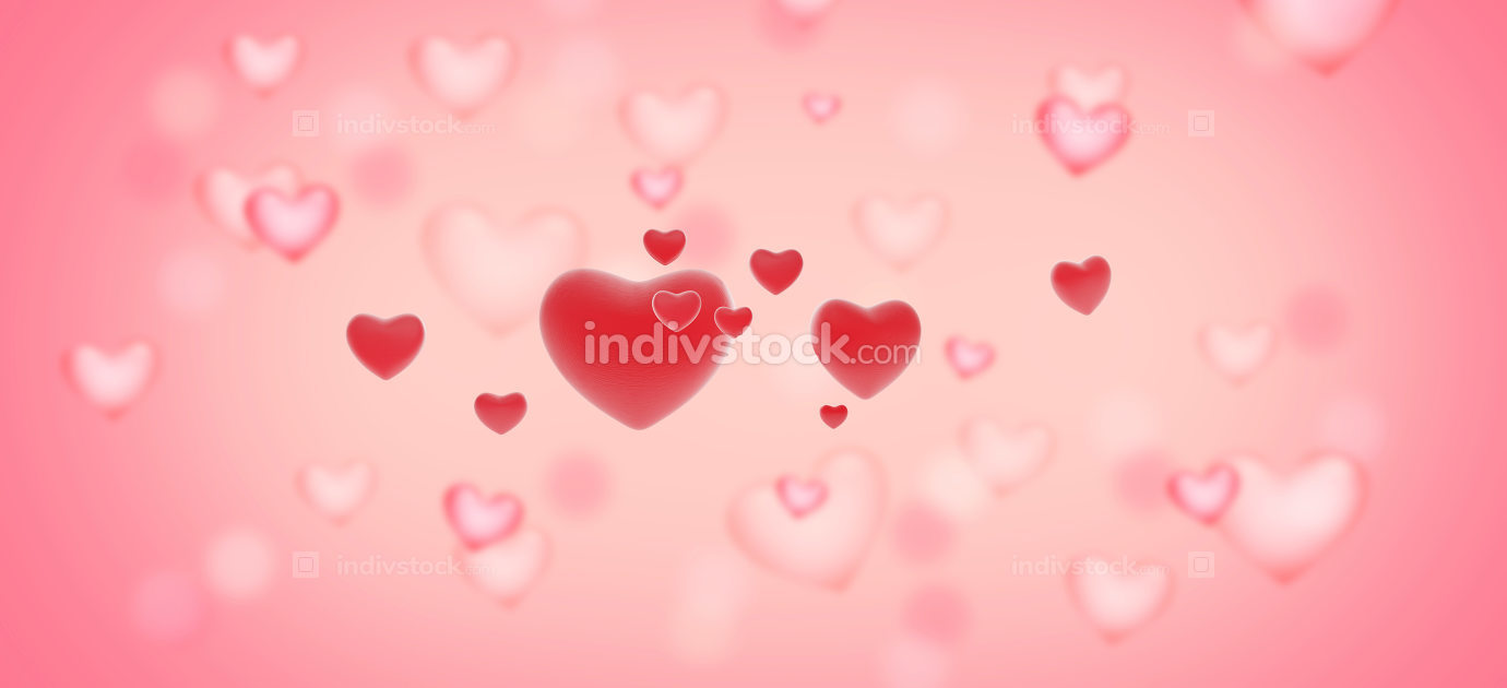 creative background with red hearts in front of many blurred pin