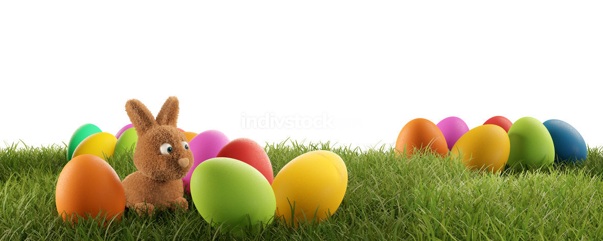 cute Easter bunny and colorful Easter eggs 3d-illustration