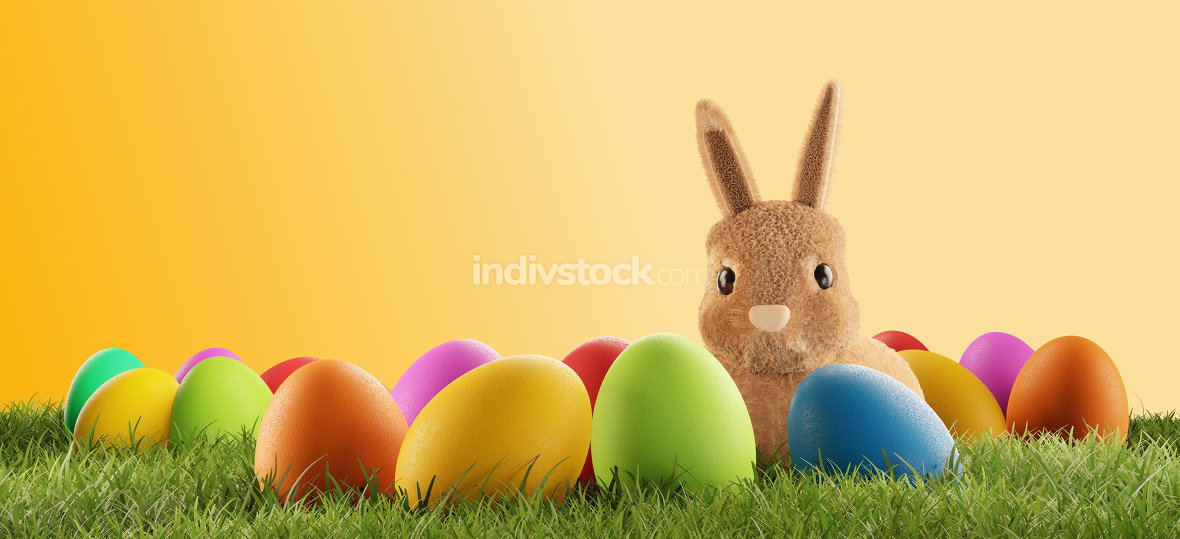 cute Easter bunny with eggs in grass 3d-illustration