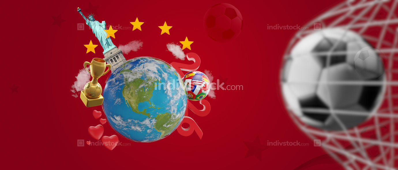 earth globe 2026 soccer theme 3d-illustration. elements of this