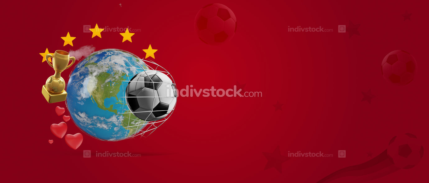 earth globe soccer ball with stars and hearts goal 3d-illustrati
