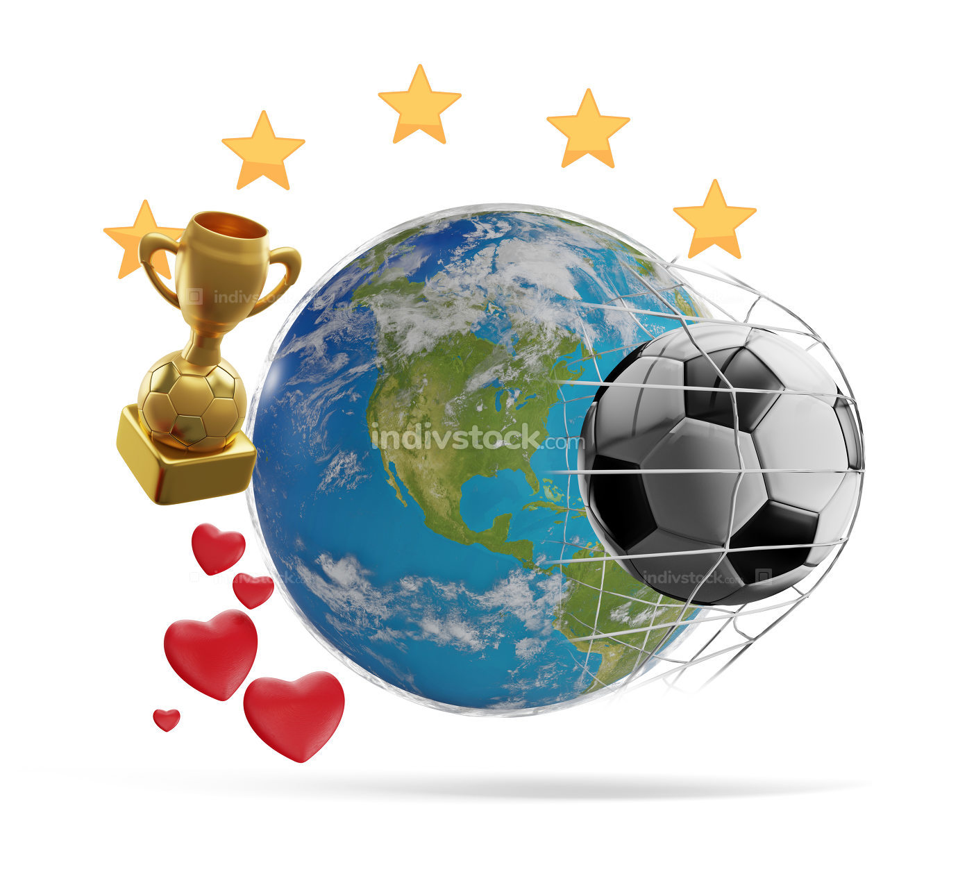 earth globe soccer theme 3d-illustration. elements of this image