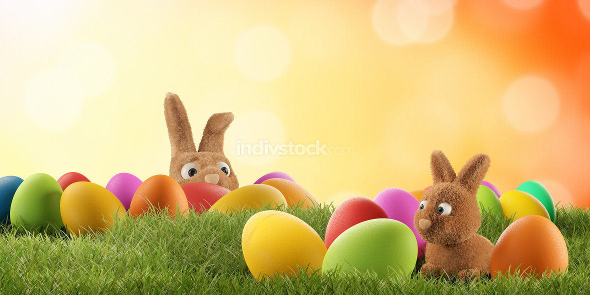 Easter bunny is hiding anxious and curious 3d-illustration