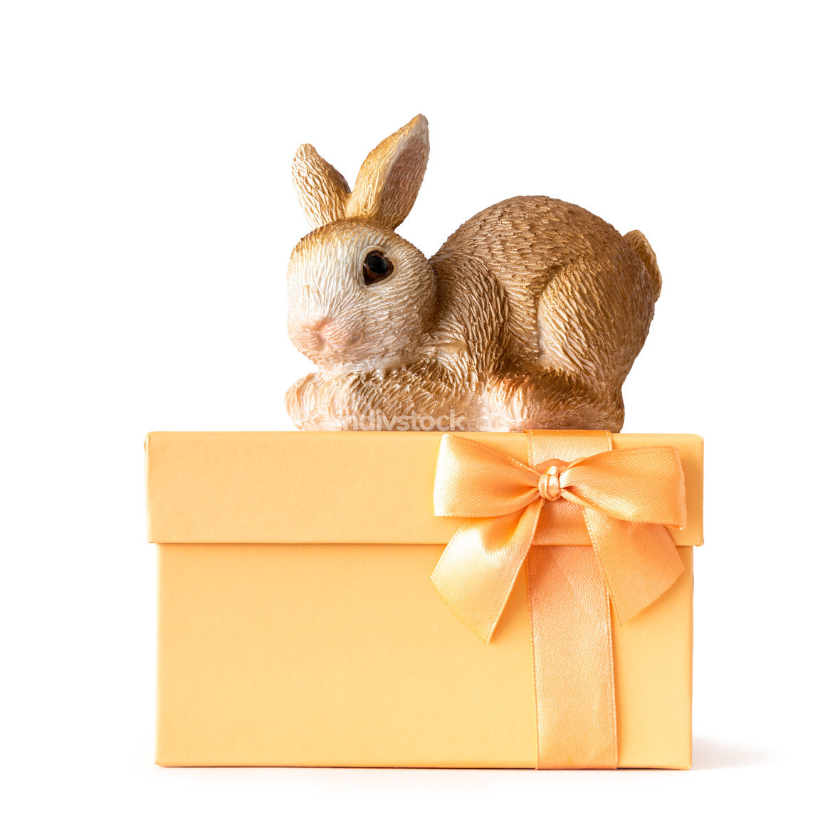 easter bunny on an orange gift box