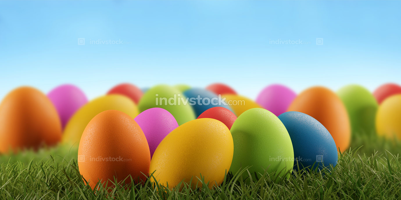 Easter eggs green grass field 3d-illustration