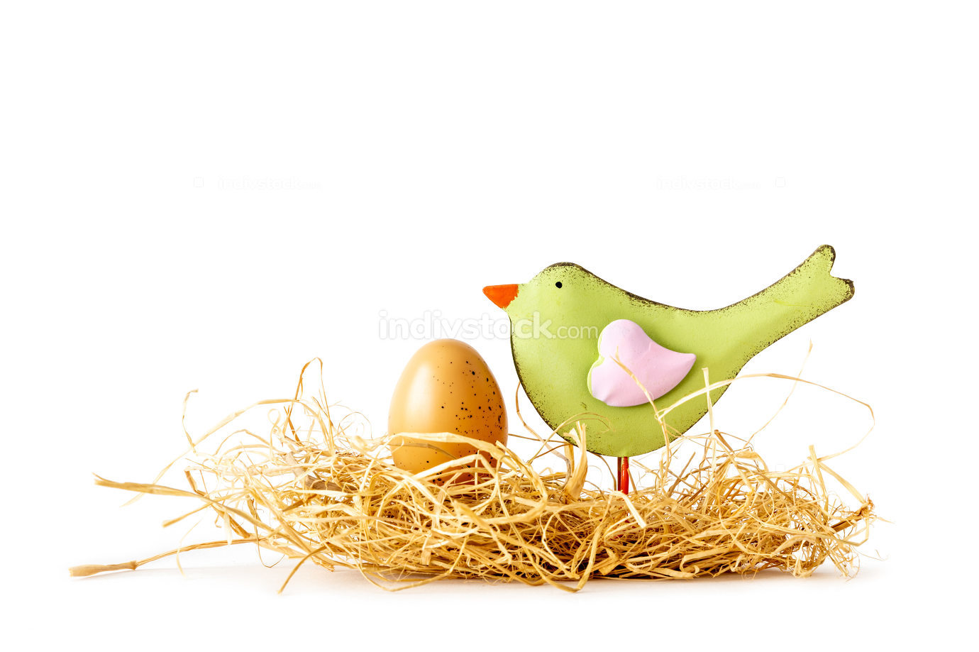 Easter nest with a bird and an egg