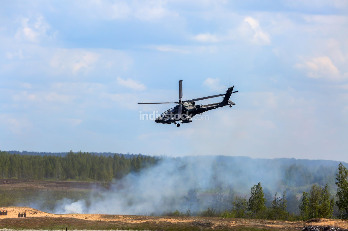 Fighting helicopter in military training Saber Strike in Latvia.
