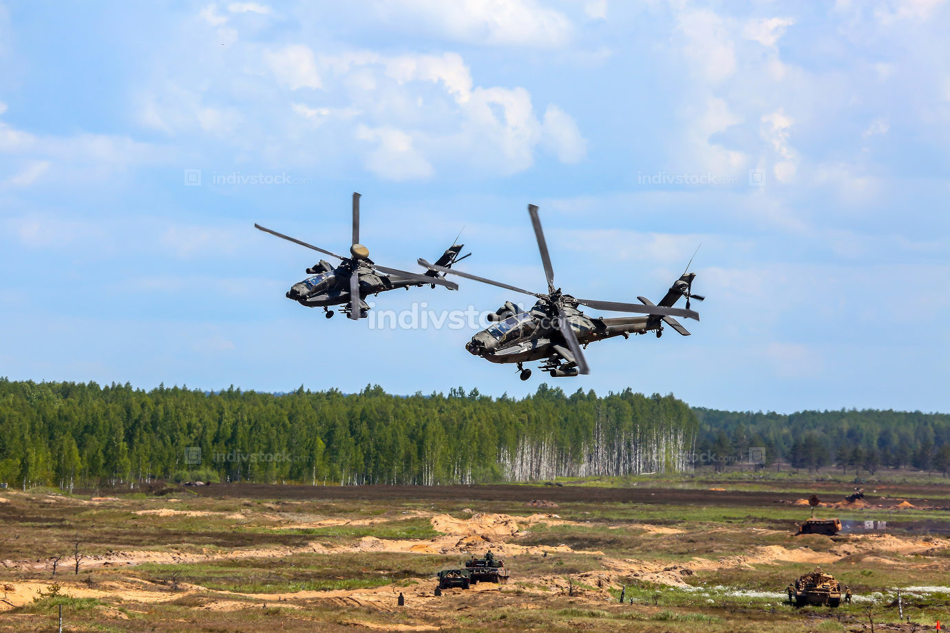 Fighting helicopters in military training Saber Strike in Latvia