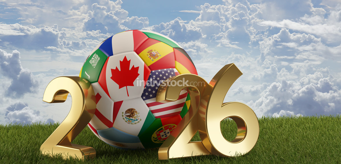 flags soccer ball 2026. 3d-illustration