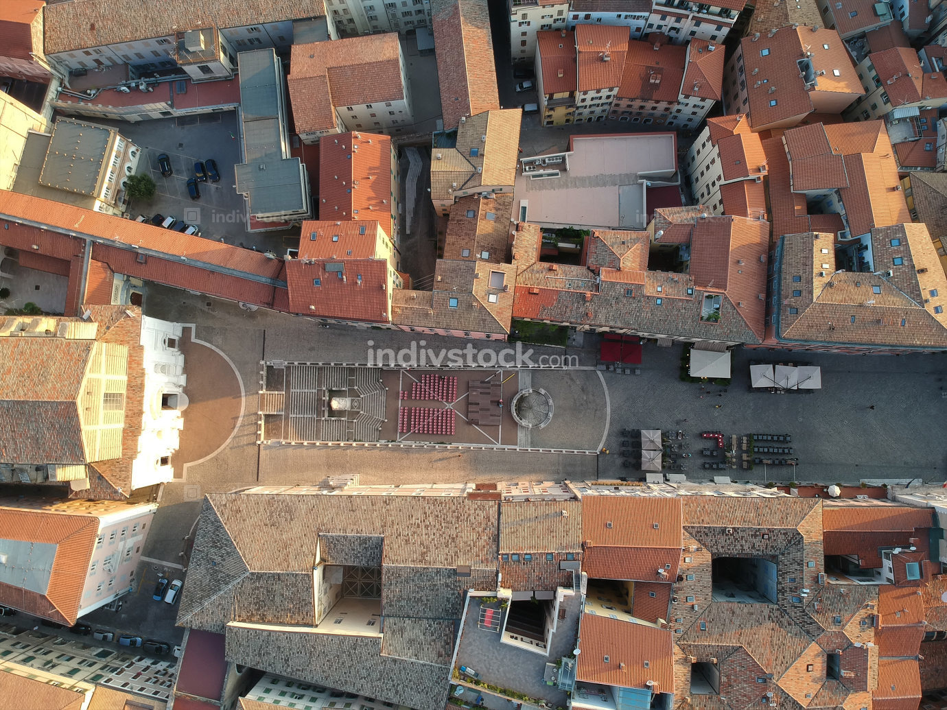 flight over San Domenico church in Ancony Italy
