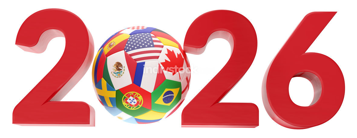 free download: 2026 symbol ball flags design 3d-illustration