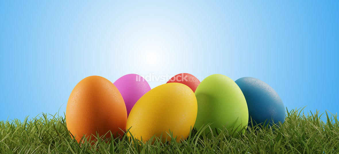 free download: colorful Easter eggs green grass light blue blurred sky 3d-illus