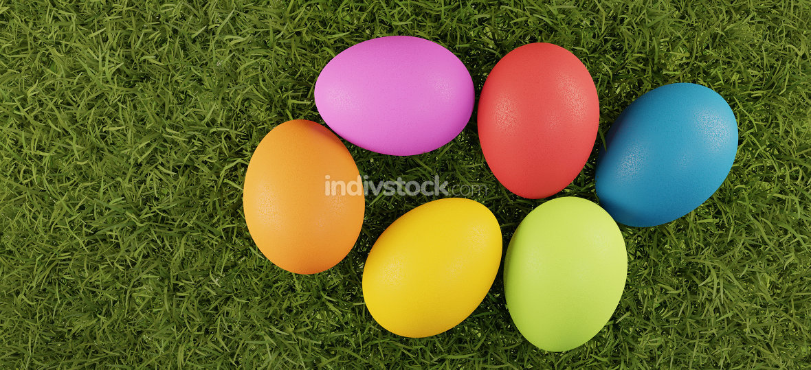 free download: Easter eggs green grass field top view 3d-illustration