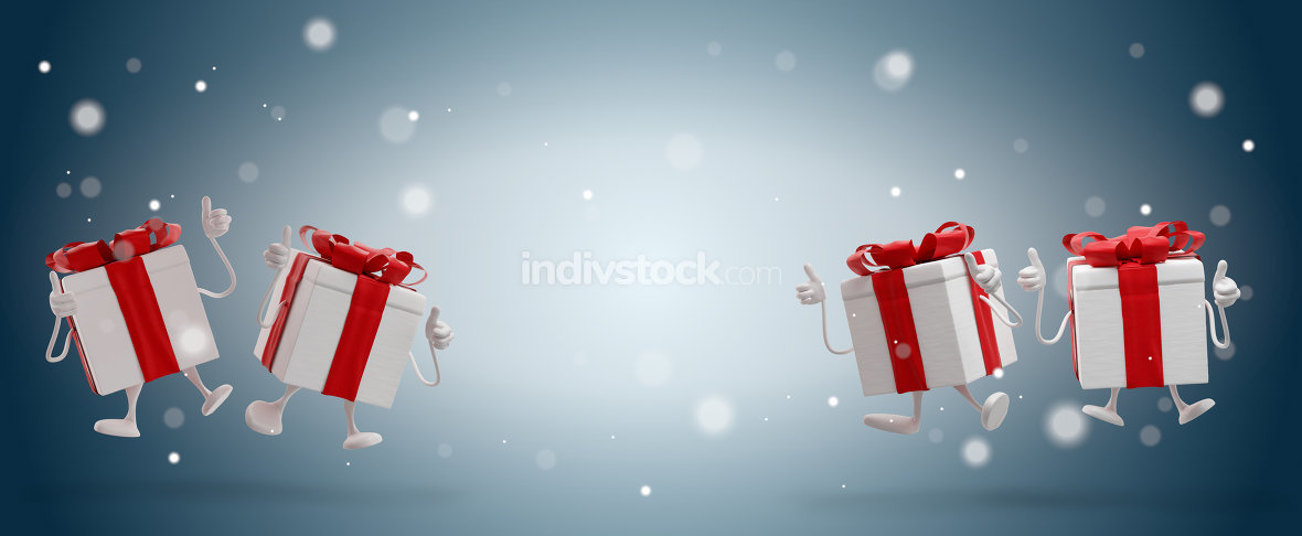 free download: happy christmas presents jump with snowflakes background 3d-illu
