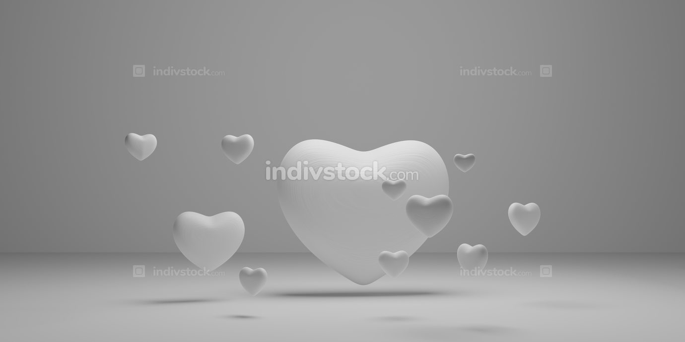 free download: hearts white light grey background 3d-illustration