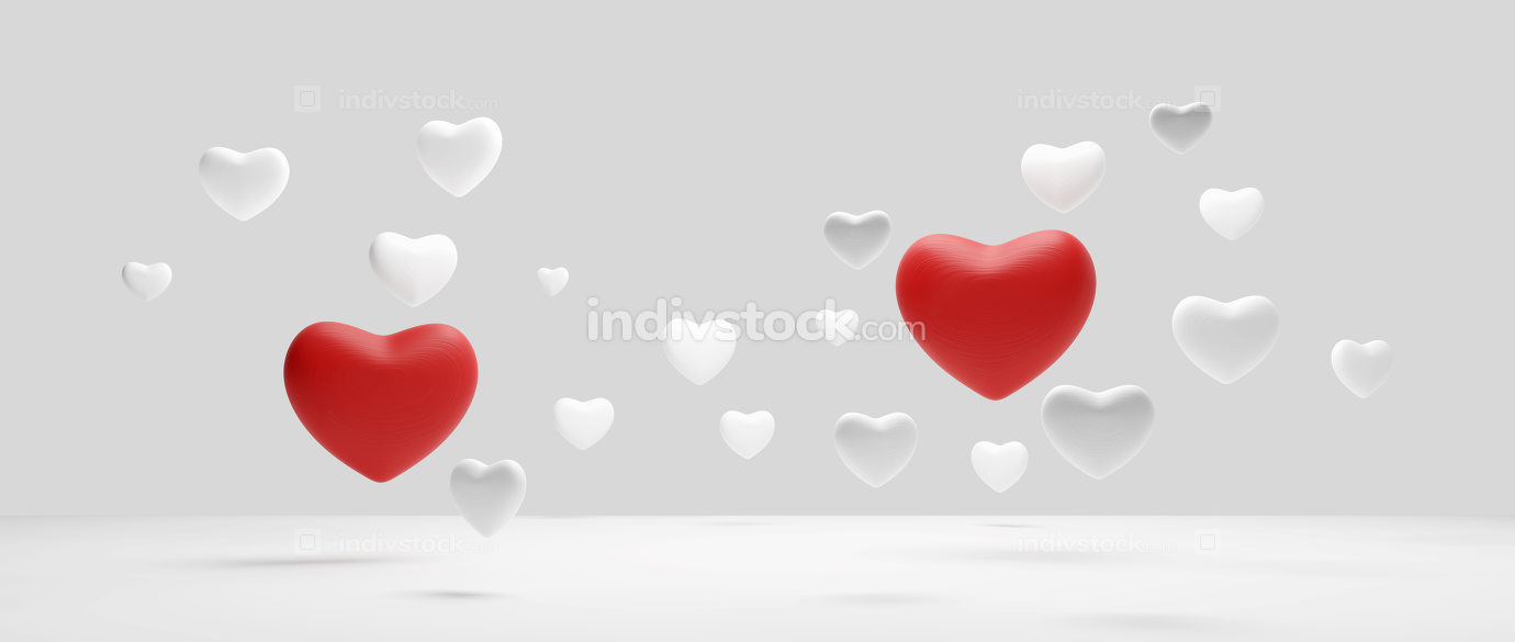 free download: hearts white red at light grey background 3d-illustration