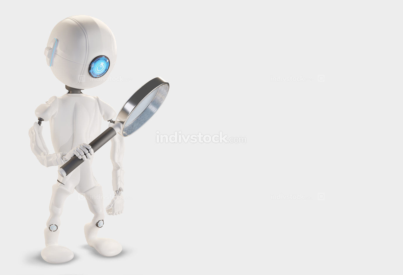 free download: Robot with magnifying glass 3d-illustration