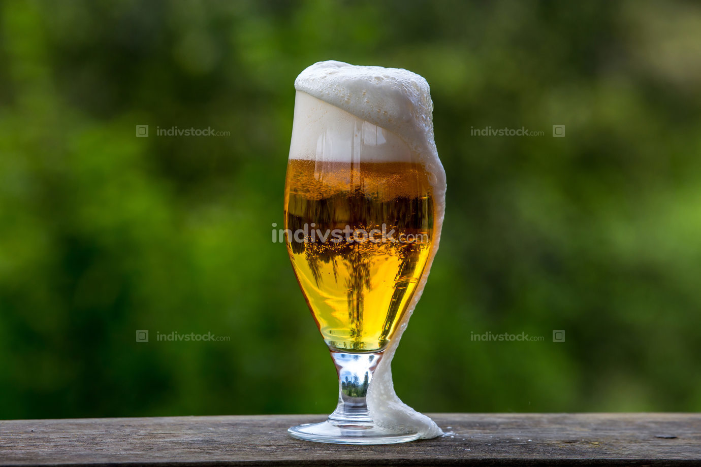 Glass of beer on green nature background.