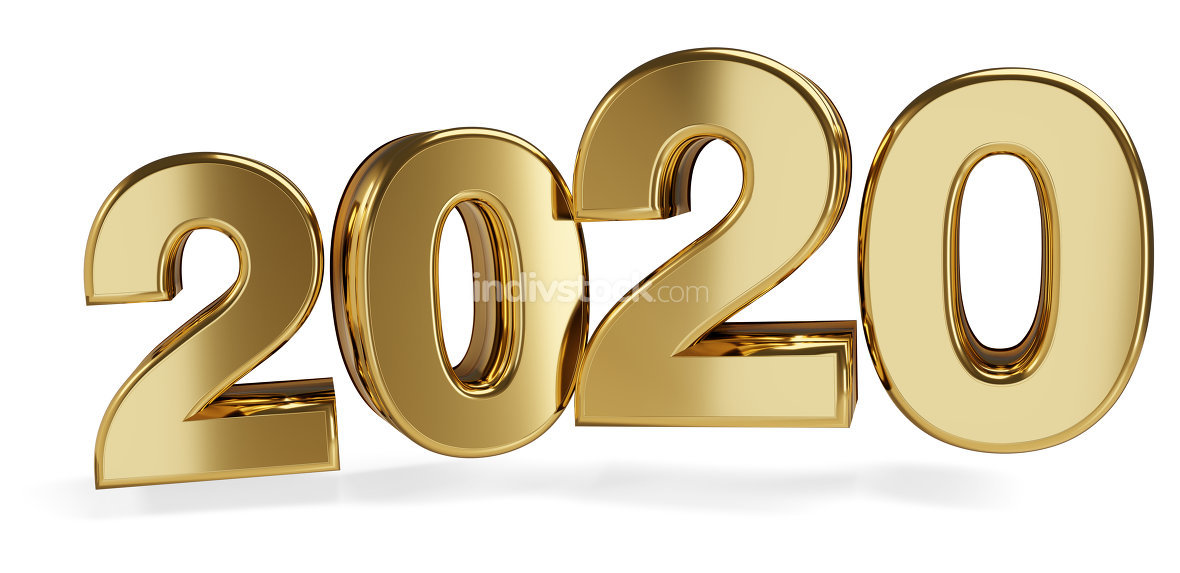 golden bold letters 2020. 3d-illustration