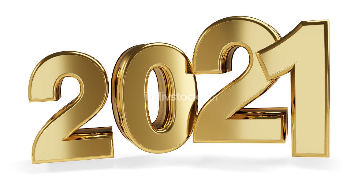 golden bold letters 2021. 3d-illustration