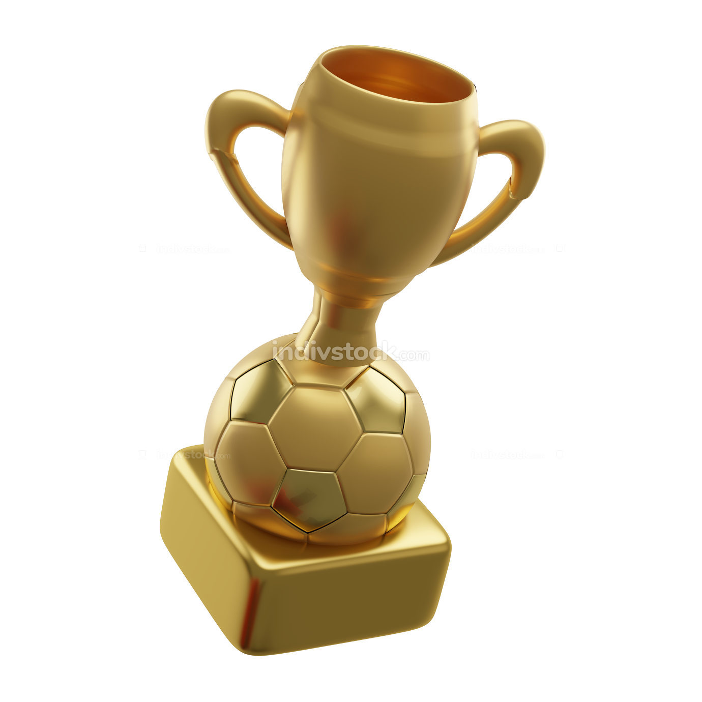 golden soccer ball trophy 3d-illustration