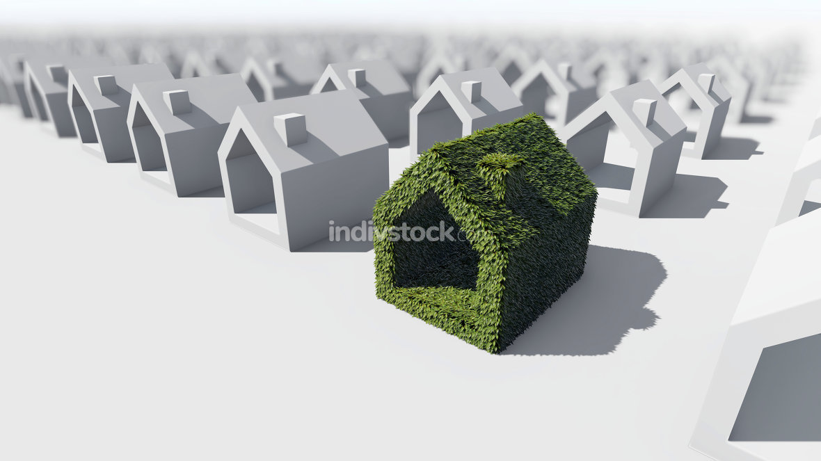 Green house with green leaves