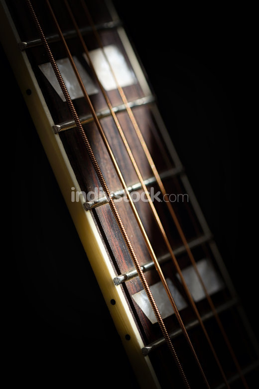 Guitar details with shadows from daylight