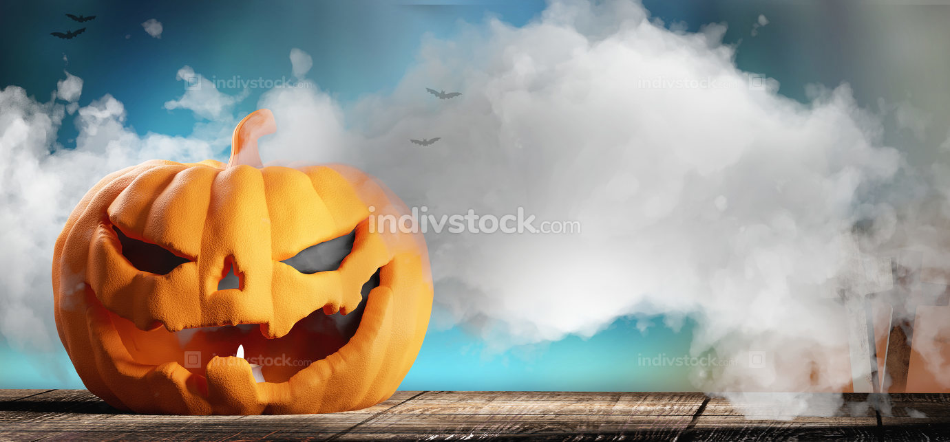 Halloween pumpkin background 3d-illustration