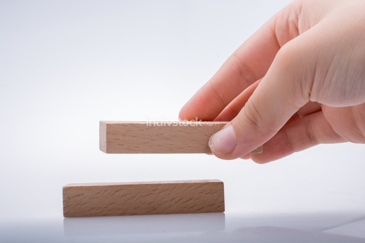 Hand holding wooden domino