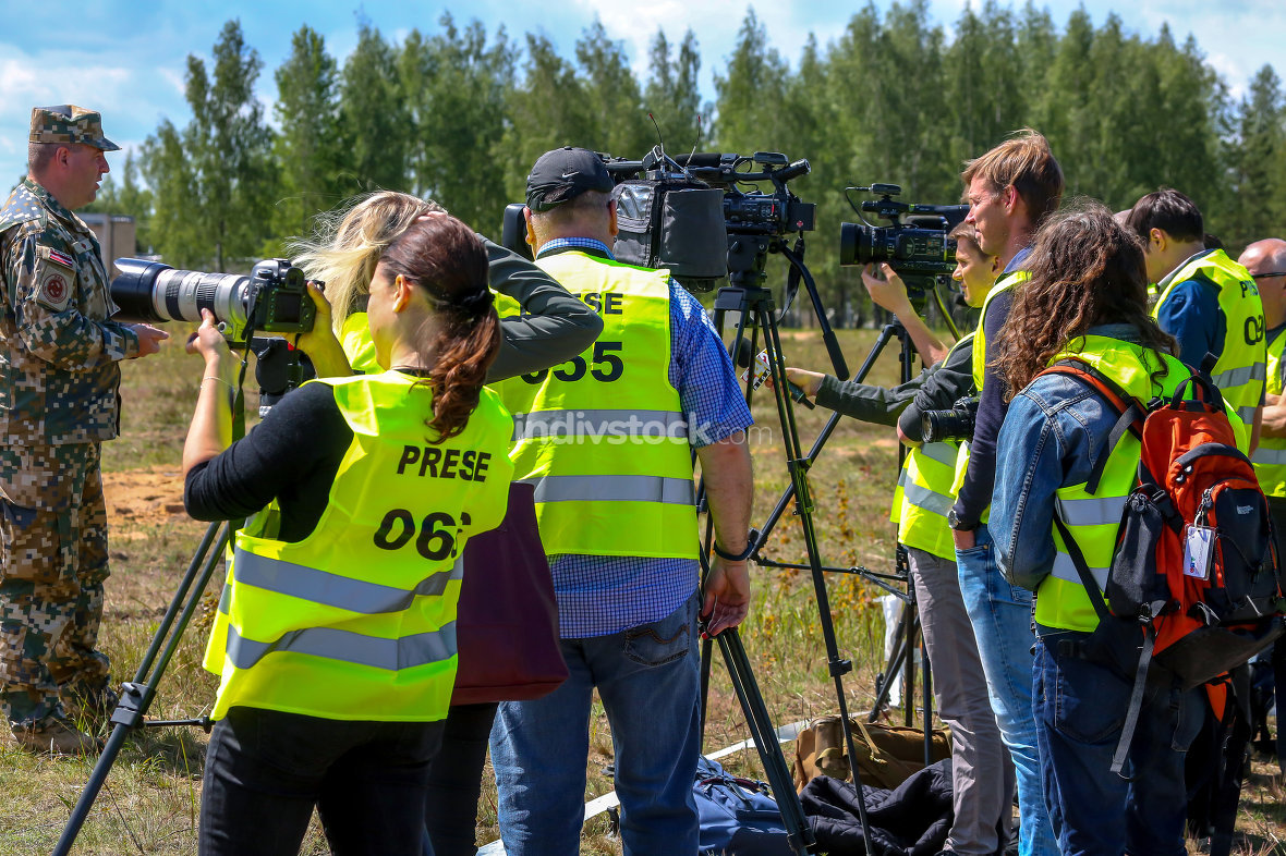 Journalists in military training Saber Strike in Latvia.