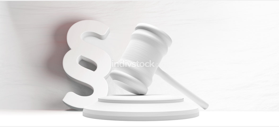judgment gavel paragraph symbol background 3d-illustration