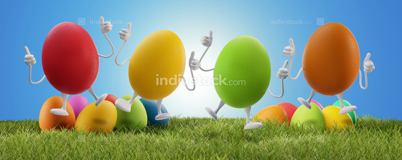 jumping Easter eggs with thumbs up 3d-illustration