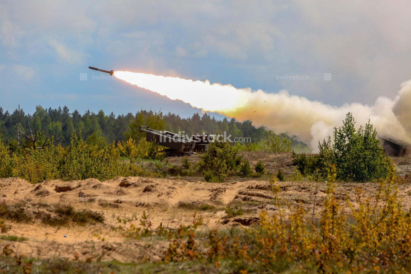 Launching rocket in military training Saber Strike in Latvia.