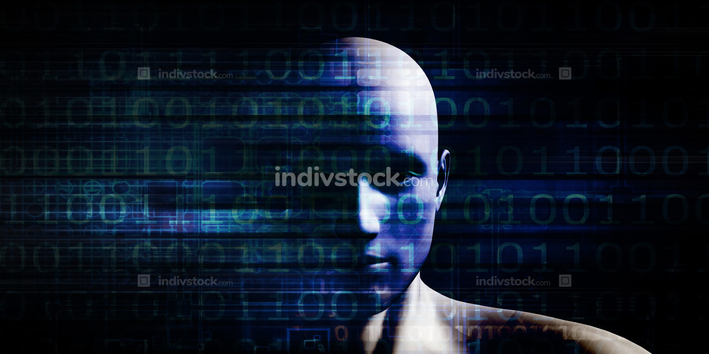 Man Surrounded by Data Information