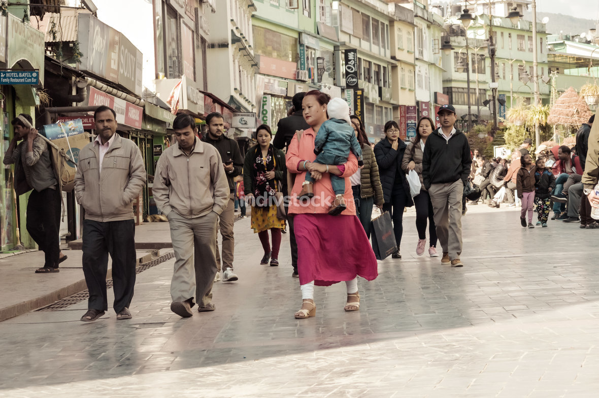MG Marg Gangtok Sikkim India December, 26, 2018: People Taking A Walk On christmas holiday in the busy MG Marg street.